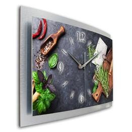 Kräuter Küche Wanduhr 3D XXL Designer leise Funk Motiv Funkuhr Wandbild modernes Design WAA063FL Kreative Feder (50x30cm) - 1