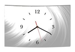 LAUTLOSE Designer Wanduhr Abstrakt grau weiß modern Dekoschild Abstrakt Bild 38 x 25cm - 1