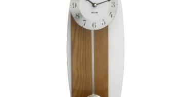 Luxus Pendel Wanduhr Dunkles Holz mit geschwungenem Spiegelpendel - 1