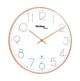 moderne, filigrane Funkwanduhr mit gewölbter Glasabdeckung und einem sehr übersichtlichen Ziffernblatt, von Technoline, Ø 35 cm, rosé-gold - 1
