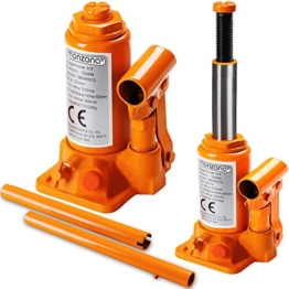Monzana Wagenheber hydraulisch 10 Tonnen Stempelwagenheber - Modellwahl 2t, 3t, 5t , 8t, 10t, 20t aus stabilem Stahl - platzsparend verstaubar - 1