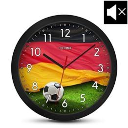 ONETIME Kinderwanduhr (Ø) 30,5 cm Kinder Wanduhr mit lautlosem Uhrenwerk und Deutschland Fußball Design - 1