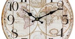 perla pd design Glaswanduhr Quarzuhr Vintage Design Weltkarte ca. Ø 30 cm - 1