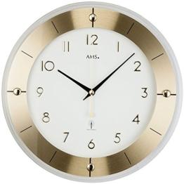 runde Funkwanduhr modern von AMS, zeitloses Design - gut lesbar, Funkbetriebsekundengenau mit Sekundenzeiger - 1