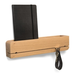Schlüsselbrett Ablage Holz Eiche Massiv DO•ORGANIZER Natuhr® Schlüsselhalter 35 x 6 x 8 cm Design Schlüsselleiste (Eiche) - 1