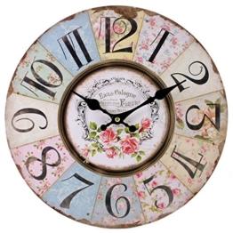Shabby Chic Floral Patchwork Uhr–Vintage Wanduhren für Wohnzimmer, Schlafzimmer und Küche–Mehrfarbig Cute Retro Style Wanduhr - 1
