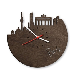 Skyline Berlin Wanduhr aus Eichen-Holz geräuchert Made in Germany | Design Uhr aus Echtholz | Wand-Deko aus Eiche geräuchert | Originelle Wand-Uhr | Moderne Wand-Uhr im Skyline Design | Wand-Dekoration aus Natur-Holz - 1