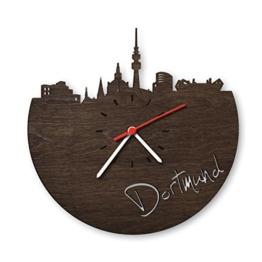 Skyline Dortmund Wanduhr aus Eichen-Holz geräuchert Made in Germany | Design Uhr aus Echtholz | Wand-Deko aus Eiche geräuchert | Originelle Wand-Uhr | Moderne Wand-Uhr im Skyline Design | Wand-Dekoration aus Natur-Holz - 1