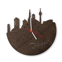 Skyline Düsseldorf Wanduhr aus Eichen-Holz geräuchert Made in Germany | Design Uhr aus Echtholz | Wand-Deko aus Eiche geräuchert | Originelle Wand-Uhr | Moderne Wand-Uhr im Skyline Design | Wand-Dekoration aus Natur-Holz - 1