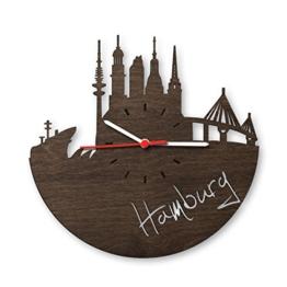 Skyline Hamburg 2016 Wanduhr aus Eichen-Holz geräuchert Made in Germany | Design Uhr aus Echtholz | Wand-Deko aus Eiche geräuchert | Originelle Wand-Uhr | Moderne Wand-Uhr im Skyline Design | Wand-Dekoration aus Natur-Holz - 1