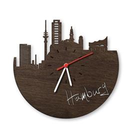 Skyline Hamburg Wanduhr aus Eichen-Holz geräuchert Made in Germany | Design Uhr aus Echtholz | Wand-Deko aus Eiche geräuchert | Originelle Wand-Uhr | Moderne Wand-Uhr im Skyline Design | Wand-Dekoration aus Natur-Holz - 1