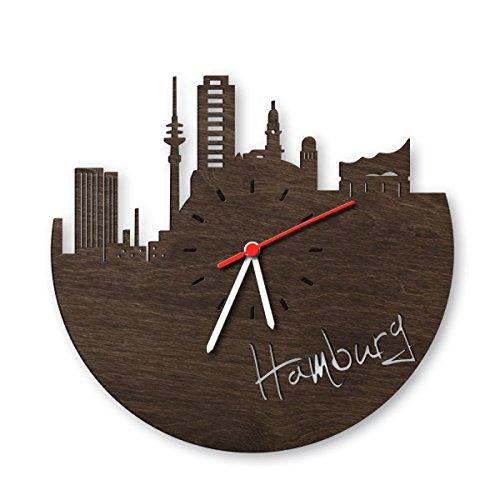 skyline hamburg wanduhr aus eichen holz ger uchert made in. Black Bedroom Furniture Sets. Home Design Ideas