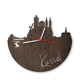 Skyline Kassel Wanduhr aus Eichen-Holz geräuchert Made in Germany | Design Uhr aus Echtholz | Wand-Deko aus Eiche geräuchert | Originelle Wand-Uhr | Moderne Wand-Uhr im Skyline Design | Wand-Dekoration aus Natur-Holz - 1