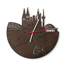 Skyline Köln Wanduhr aus Eichen-Holz geräuchert Made in Germany Design Uhr aus Echtholz Wand-Deko aus Eiche geräuchert Originelle Wand-Uhr Moderne Wand-Uhr im Skyline Design Wand-Dekoration aus Natur-Holz - 1