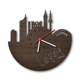 Skyline Leipzig Wanduhr aus Eichen-Holz geräuchert Made in Germany | Design Uhr aus Echtholz | Wand-Deko aus Eiche geräuchert | Originelle Wand-Uhr | Moderne Wand-Uhr im Skyline Design | Wand-Dekoration aus Natur-Holz - 1