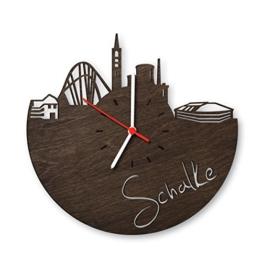 Skyline Schalke Wanduhr aus Eichen-Holz geräuchert Made in Germany Design Uhr aus Echtholz Wand-Deko aus Eiche geräuchert Originelle Wand-Uhr Moderne Wand-Uhr im Skyline Design Wand-Dekoration aus Natur-Holz - 1