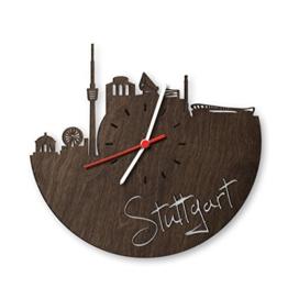 Skyline Stuttgart Wanduhr aus Eichen-Holz geräuchert Made in Germany | Design Uhr aus Echtholz | Wand-Deko aus Eiche geräuchert | Originelle Wand-Uhr | Moderne Wand-Uhr im Skyline Design | Wand-Dekoration aus Natur-Holz - 1