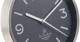 St. Leonhard Backlight Wanduhr: Edelstahl-Funk-Wanduhr, Zifferblatt-Beleuchtung & Lichtsensor, schwarz (Wanduhr mit Automatiklicht) - 4