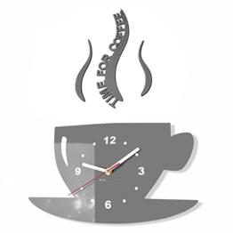 TASSE Time for coffee (Zeit für Kaffee) Moderne Küche Wanduhr grau, 3d römisch, wanduhr deko - 1