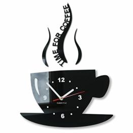 TASSE Zeit für Kaffee Moderne Küche Wanduhr, schwarz, 3d römisch, wanduhr deko - 1
