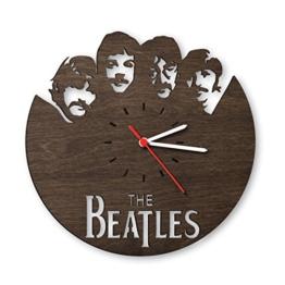The Beatles Wanduhr aus Eichen-Holz geräuchert Made in Germany | Design Uhr aus Echtholz | Wand-Deko aus Eiche geräuchert | Originelle Wand-Uhr | Moderne Wand-Uhr im Skyline Design | Wand-Dekoration aus Natur-Holz - 1