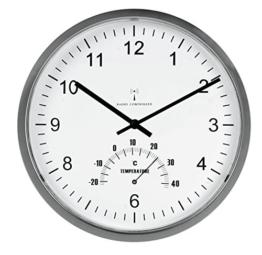 UNILUX 100340847 Funk-Wanduhr Tempus Funk-Uhr metall-grau automatische Zeitanpassung automatische Zeitumstellung von Sommer- und Winterzeit modernes Ziffernblatt - 1