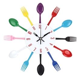 UNIQUEBELLA Besteck Uhr Besteckuhr Küchenuhr Wanduhr Analoger Uhr Metall D 33 cm in Bunt - 1