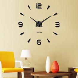 Vangold Moderne Mute DIY große Wanduhr 3D Aufkleber Home Office Decor Geschenk (schwarz-73) - 1