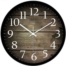 Vintage Uhr Wanduhr, Likeluk 12 Zoll (30cm) Modern Quartz Lautlos Wanduhr ohne Ticken - 1