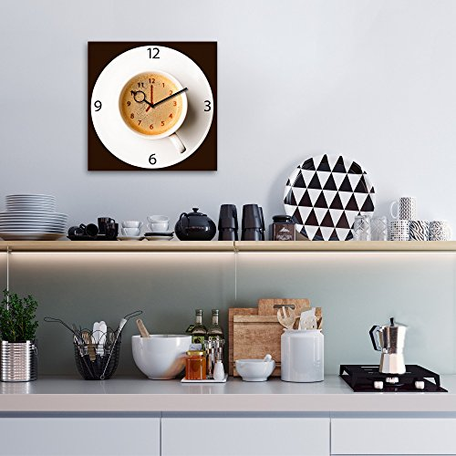 wanduhr aus glas f r die k che it 39 s coffee time kaffeetasse braun 30x30 cm von eurographics. Black Bedroom Furniture Sets. Home Design Ideas