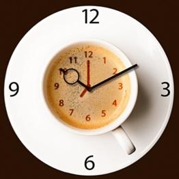 Wanduhr aus Glas für die Küche, It's Coffee Time, Kaffeetasse, braun, 30x30 cm von Eurographics - 1