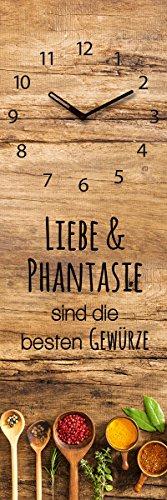 Wanduhr aus Glas für die Küche, Liebe und Phantasie, Holzoptik mit Löffel mit Gewürzen, 20x60 cm von Eurographics - 1
