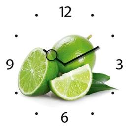 Wanduhr aus Glas für die Küche, Lime Time, Limetten, grün, weiß, 30x30 cm von Eurographics - 1