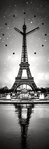 Wanduhr aus Glas, Paris, Eiffelturm, schwarz-weiß, 20x60 cm von Eurographics - 1