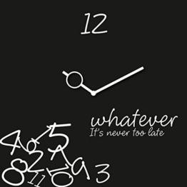 Wanduhr aus Glas, Whatever Clock, Schwarz mit weißen Zahlen, 30x30 cm von Eurographics - 1