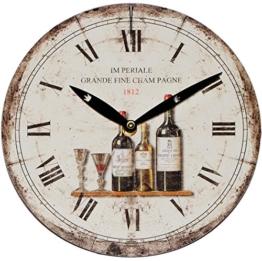 """Wanduhr aus Holz - """" Weinglas & Wein """" - Ø 23,5 cm groß - schleichendes Uhrwerk ! - sehr leise ! - Uhr - Analog - Wohnzimmer & Kinderzimmer - Holzuhr / Kinderuhr - Küche - mediterran Küchenuhr - Quarzuhr - modern Bistro - Vintage - Retro Shabby Chic - Männeruhr / Männer - schleichende Sekunde - Holzwanduhr - Essen - Restaurant - für Erwachsene - Jungen Mädchen Kinder - Cocktails - Weingläser - Italiener - Italien - Frankreich / Champagne - Käse - Vino - 1"""
