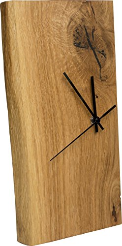 Wanduhr Eiche Massiv | Echt-Holz Uhr als Standuhr & Tisch-Uhr verwendbar | einseitig mit Baumkante | schlicht & modern - 1