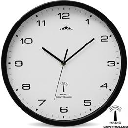 Wanduhr Funkuhr Quarz Funkwanduhr Analog Uhr 31cm Zeitumstellung Automatisch - weiß/schwarz - 1