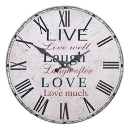 Wanduhr - Live Laugh Love - Holz Küchenuhr mit großem Ziffernblatt aus MDF, Retro Uhr im angesagtem Shabby Chic Design mit leisem Quarz-Uhrwerk, Ø: 32 cm - 1
