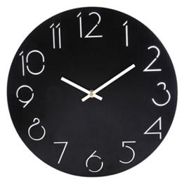 Wanduhr, Lommer 30x30cm Wanduhr Einfaches Design Runden Wanduhr Modern Lautlos Wanduhr für Home/Büro Dekoration/Geschenk Wanduhr (Schwarz) - 1