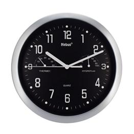 Wanduhr von Mebus mit Thermometer und Hygrometer Küchenuhr Schwarz Silber 25cm (Schwarz) - 1