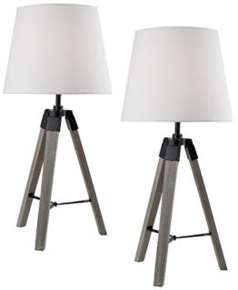 2er Set BRUBAKER Dreibein Tisch- oder Nachttischlampen 57 cm Holz Silbergrau / Weiß - Designed in Germany - 1