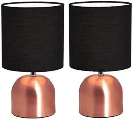 2er Set BRUBAKER Tisch- oder Nachttischlampen 28 cm Kupfer / Schwarz- Designed in Germany - 1
