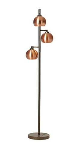 3-flg. Stehlampe, Stehleuchte, Standleuchte, Standlampe, Bodenlampe, schwarz Chrom, Metallschirme kupfer, ohne Leuchtmittel - 1
