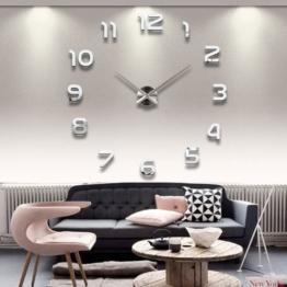 3D Wanduhr Sticker Modern, 3D DIY Uhr Sticker, Moon mood® 3D DIY Metall Riesen Uhr Moderne Wanduhr Wandtattoo Dekoration Uhr Wand Sticker Spiegel Oberflächen Zimmerdeko Sticker Wohnzimmer Büro Studierzimmer - 1
