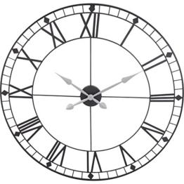 88 cm Design Wanduhr XXL 88 cm Metall Schwarz Quarz Uhr Jumbo Großuhr - 1