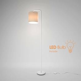 Aglaia LED Stehleuchte Classic Arc Stehleuchte mit Hängelampenschirm mit Fußschalter auf Aus-Schalter für Wohnzimmer, Wohnzimmer, Büro oder Schlafzimmer, energiesparend und langlebig-weiß - 1