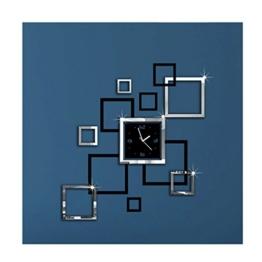 Albeey DIY Wanduhr Moderne Clock 3D Acryl Spiegel Wandaufkleber Home Dekorationen Tolles Geschenk (schwarz und silber) - 1