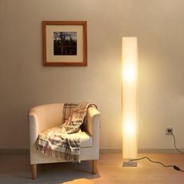 Albrillo Stehlampe Moderne E27 Stehleuchte mit Tube Lampenschirm und Edelstahl Basis, 120 cm Standlampe Max. 40W für Wohnzimmer, weiß - 1