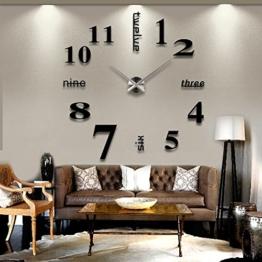 AngelaKerry XXL 3D DIY Moderne Wanduhr Wandtattoo Dekoration Uhr für Zimmerdeko aus Acryl Schwarz + Silbrig - 1